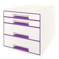 Zásuvkový box LEITZ WOW - A4+, plastový, bílá  s purpurovými prvky