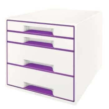 Zásuvkový box LEITZ WOW - A4+, plastový, bílý s purpurovými prvky
