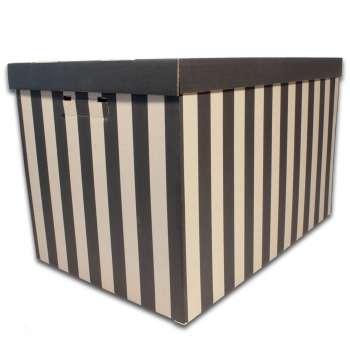 Archivační krabice BIG BOX - 56 x 37 x 36 cm, s víkem, pruhovaná, 2 ks