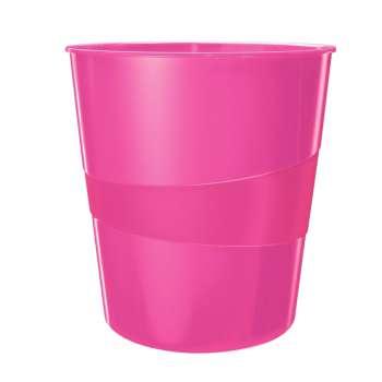 Odpadkový koš LEITZ WOW - plastový, růžová , objem 15