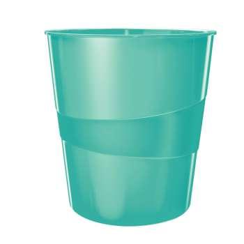 Odpadkový koš LEITZ WOW - plastový, ledově modrý, objem 15 l