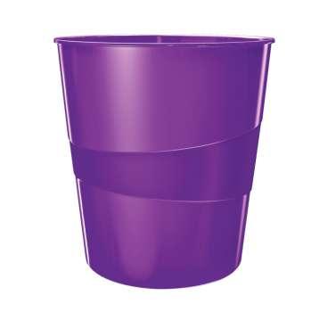 Odpadkový koš LEITZ WOW - plastový, purpurový, objem 15 l