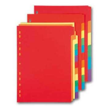Rozlišovač Office Depot A4, barevný s výkroji, 12 listů