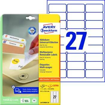 Samolepicí snímatelné etikety Avery - 63,5 x 29,6 mm, 675 ks