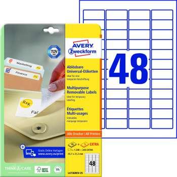 Samolepicí snímatelné etikety Avery Zweckform - 45,7 x 21,2 mm, 1200 ks