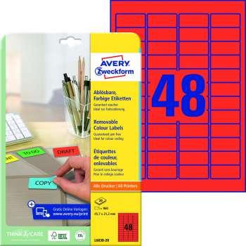 Samolepicí snímatelné etikety Avery - červené, 45,7 x 21,2 mm, 960 ks