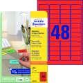 Snímatelné etikety Avery Zweckform - červené, 45,7 x 21,2 mm, 960 ks