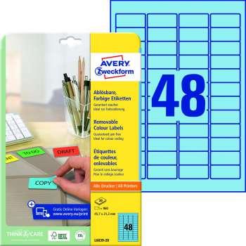 Samolepicí snímatelné etikety Avery - modré, 45,7 x 21,2 mm, 960 ks