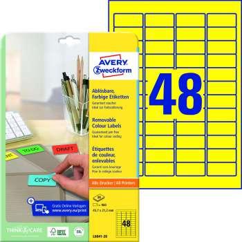 Samolepicí snímatelné etikety Avery - žluté, 45,7 x 21,2 mm, 960 ks