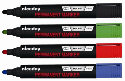 Permanentní popisovač Niceday - mix barev, kulatý hrot, 4 ks
