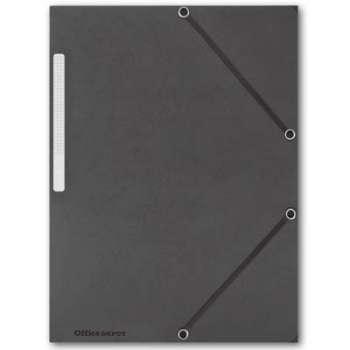 Prešpánové desky s chlopněmi a gumičkou Office Depot - A4, černé, 10 ks