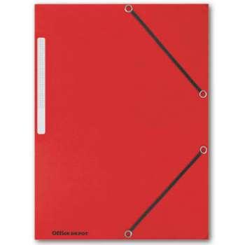 Prešpánové desky s chlopněmi a gumičkou Office Depot - A4, červené, 10 ks