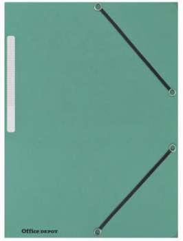 Prešpánové desky s chlopněmi a gumičkou Office Depot - A4, zelené, 10 ks