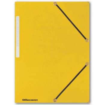 Prešpánové desky s chlopněmi a gumičkou Office Depot - A4, žlutá, 10 ks