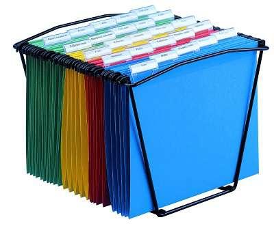 Drátěný koš na závěsné desky - kapacita 25 desek, černá