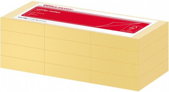 Samolepicí bločky Office Depot 38,0 x 51,0 mm, žluté, 12 ks