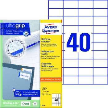 Samolepicí etikety Avery - 52,5 x 29,7 mm, 4000 etiket