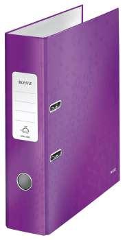 Pákový pořadač LEITZ WOW 180° - A4, laminovaný karton, hřbet 8,0 cm, purpurový