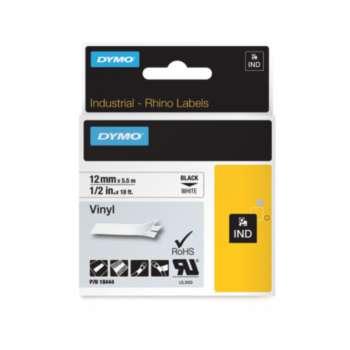 Páska Dymo Rhino - bílá, šířka 12 mm, návin 5,5 m, černé písmo (vinylová)