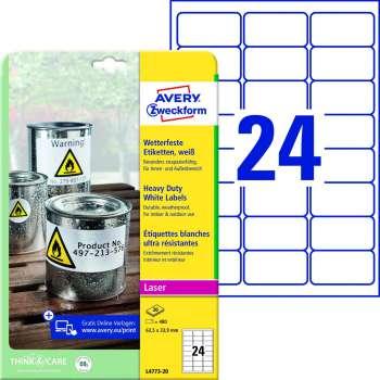 Samolepicí vodovzdorné etikety Avery - 63,5 x 33,9 mm, 480 ks
