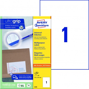 Samolepicí etikety Avery Zweckform - 210,0 x 297,0 mm, 100 etiket