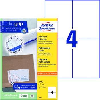 Samolepicí etikety Avery - 105,0 x 148,0 mm, 400 etiket