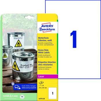 Samolepicí etikety velmi odolné polyesterové - bílé, 210 x 297 mm, 20 ks