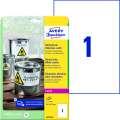 Samolepicí vodovzdorné etikety Avery - bílé, 210 x 297 mm, 20 ks