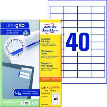 Samolepicí etikety Avery - 48,5 x 25,4 mm, 4000 etiket