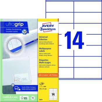 Samolepicí etikety Avery Zweckform - 105,0 x 41,0 mm, 1400 etiket