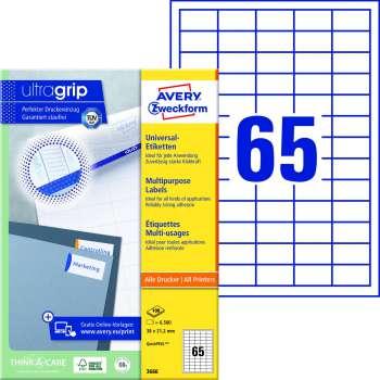 Samolepicí etikety Avery Zweckform - 38,0 x 21,2 mm, 6500 etiket