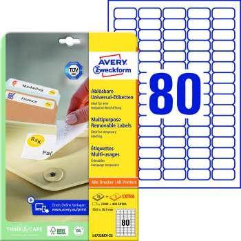 Samolepicí snímatelné etikety Avery - 35,6 x 16,9 mm, 2000 ks
