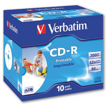 CD-R Verbatim Printable - potisknutelná, standard box, 10 ks