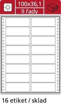 Samolepicí tabelační etikety SK Label - dvouřadé, 100,0 x 36,1mm, 400 ks