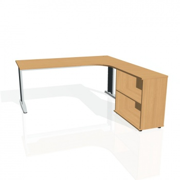 Psací stůl Hobis FLEX FE 1800 H levý, buk/kov