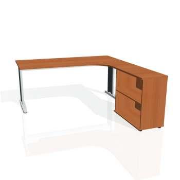 Psací stůl Hobis FLEX FE 1800 H levý, třešeň/kov