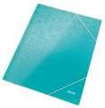 Desky na dokumenty s chlopněmi a gumičkou LEITZ WOW - A4, ledově modrá