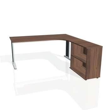 Psací stůl Hobis FLEX FE 1800 H levý, ořech/kov