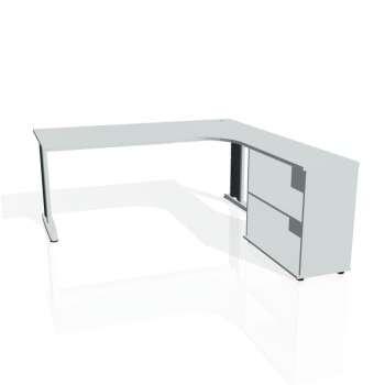Psací stůl Hobis FLEX FE 1800 H levý, šedá/kov