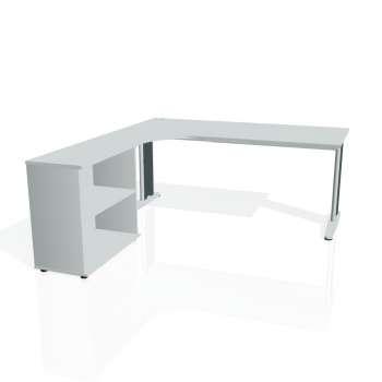 Psací stůl Hobis FLEX FE 1800 H pravý, šedá/kov
