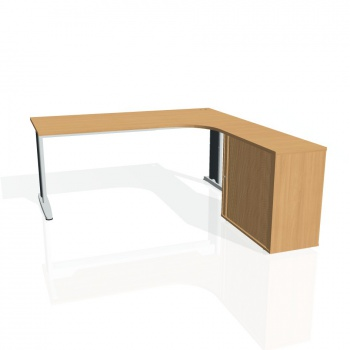 Psací stůl Hobis FLEX FE 1800 HR levý, buk/kov