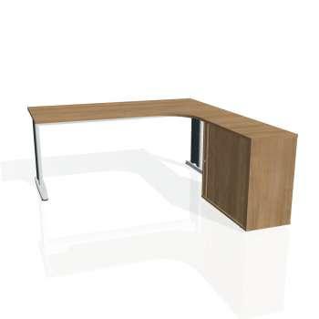 Psací stůl Hobis FLEX FE 1800 HR levý, višeň/kov