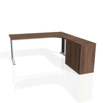 Psací stůl Hobis FLEX FE 1800 HR levý, ořech/kov