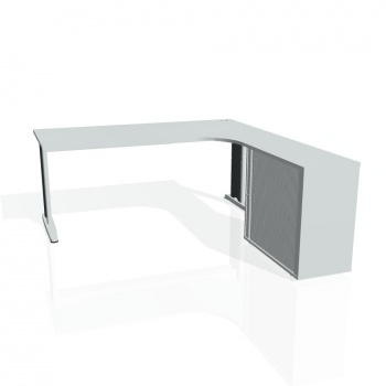 Psací stůl Hobis FLEX FE 1800 HR levý, šedá/kov