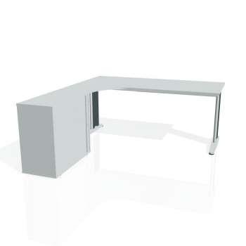 Psací stůl Hobis FLEX FE 1800 HR pravý, šedá/kov