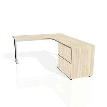 Psací stůl Hobis FLEX FE 60 H levý, akát/kov