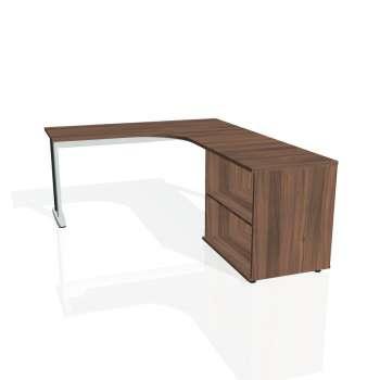 Psací stůl Hobis FLEX FE 60 H levý, ořech/kov