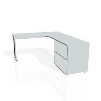 Psací stůl Hobis FLEX FE 60 H levý, šedá/kov