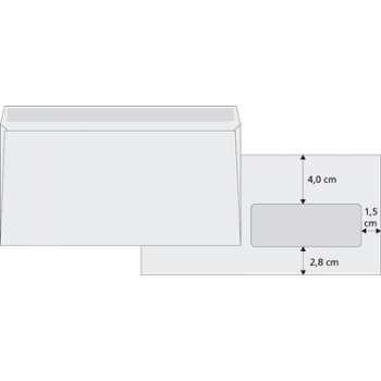 Obálky DL s okénkem vpravo Office Depot - obyčejné, navlhčovací lepidlo, 1000 ks