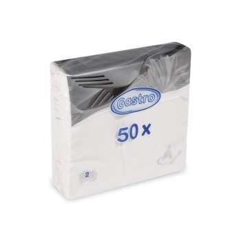 Papírové ubrousky - dvouvrstvé, bílé, 50 ks